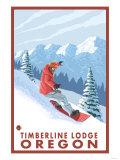 Snowboarder Scene, Timberline Lodge, Oregon Prints by  Lantern Press