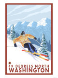 Downhhill Snow Skier, 49 Degrees North, Washington Prints
