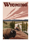 Yellowstone River Bison, Yellowstone National Park, Wyoming Affiches