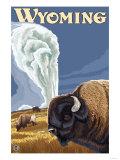 Buffalo by Old Faithful, Yellowstone Park, Wyoming Art by  Lantern Press