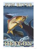 Trout Fishing Cross-Section, Sun River, Oregon Art by  Lantern Press