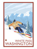 Downhhill Snow Skier, White Pass, Washington Prints