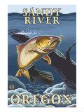 Trout Fishing Cross-Section, Sandy River, Oregon Prints by  Lantern Press