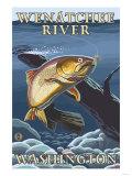 Trout Fishing Cross-Section, Wenatchee River, Washington Prints by  Lantern Press