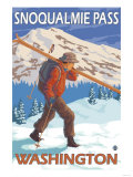 Skier Carrying Snow Skis, Snoqualmie Pass, Washington Prints