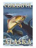 Trout Fishing Cross-Section, Cordova, Alaska Prints by  Lantern Press