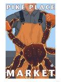 King Crab Fisherman, Pike Place Market, Seattle Plakater af Lantern Press