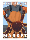 King Crab Fisherman, Pike Place Market, Seattle Prints by  Lantern Press