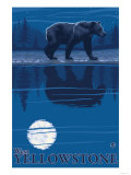 Bear in Moonlight, West Yellowstone, Montana Prints by  Lantern Press