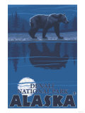 Bear in Moonlight, Denali National Park, Alaska Posters