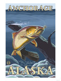 Trout Fishing Cross-Section, Anchorage, Alaska Prints by  Lantern Press