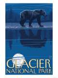 Bear in Moonlight, Glacier National Park, Montana Prints