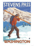 Skier Carrying Snow Skis, Stevens Pass, Washington Art