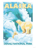 Polar Bears & Cub, Denali National Park, Alaska Art by  Lantern Press