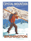 Skier Carrying Snow Skis, Crystal Mountain, Washington Prints