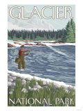 Fly Fisherman, Glacier National Park, Montana Prints