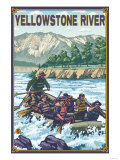 White Water Rafting, Yellowstone River, Montana Art by  Lantern Press