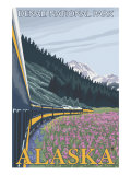 Alaska Railroad Scene, Denali National Park, Alaska Art by  Lantern Press