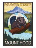 Beaver & Mt. Hood, Oregon Posters