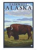 Bison Scene, Fairwell, Alaska Posters