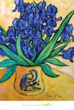 Irises in Blue Vase Fotografía por Loughlin