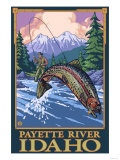 Fly Fishing Scene, Payette River, Idaho Posters by  Lantern Press