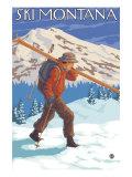 Skieur portant ses skis, Montana Posters par  Lantern Press