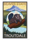 Beaver & Mt. Hood, Troutdale, Oregon Print by  Lantern Press