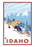 Downhhill Snow Skier, Idaho Print by  Lantern Press