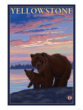 Bear and Cub, Yellowstone National Park Print by  Lantern Press