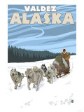 Dog Sledding Scene, Valdez, Alaska Print by  Lantern Press