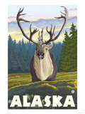 Caribou in the Wild, Alaska Print by  Lantern Press