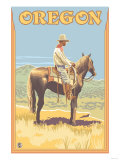 Cowboy on Horseback, Oregon Poster by  Lantern Press