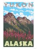 Fireweed & Mountains, Yukon, Alaska Poster