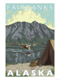 Bush Plane & Fishing, Fairbanks, Alaska Poster by  Lantern Press