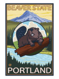 Beaver & Mt. Hood, Portland, Oregon Poster af Lantern Press