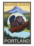 Beaver & Mt. Hood, Portland, Oregon Plakat autor Lantern Press