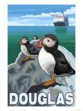 Puffins & Cruise Ship, Douglas, Alaska Poster par  Lantern Press