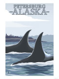 Orca Whales No.1, Petersburg, Alaska Poster by  Lantern Press