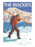 Skier Carrying Snow Skis, The Rockies Poster par  Lantern Press
