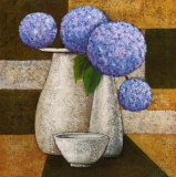 Hydrangeas with Vase IV Prints by Robert Downs