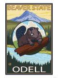 Beaver & Mt. Hood, Odell, Oregon Posters by  Lantern Press