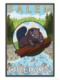 Beaver & River, Salem, Oregon Posters af Lantern Press