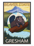Beaver & Mt. Hood, Gresham, Oregon Posters af Lantern Press