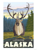 Caribou in the Wild, Latouche, Alaska Posters