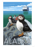 Puffins Watching a Cruise Ship, Alaska Posters