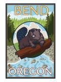 Beaver & River, Bend, Oregon Posters af Lantern Press