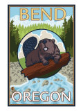 Beaver & River, Bend, Oregon Posters by  Lantern Press