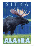 Moose at Night, Sitka, Alaska Posters