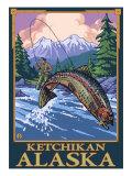 Fly Fishing Scene, Ketchikan, Alaska Posters